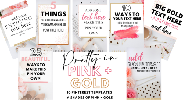 Pink and Gold Pinterest templates
