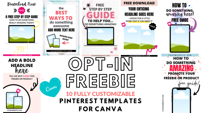 opt-in freebie pinterest templates for canva